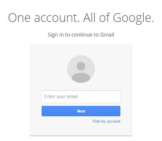 A fake Google Gmail login screen, used in Phishing