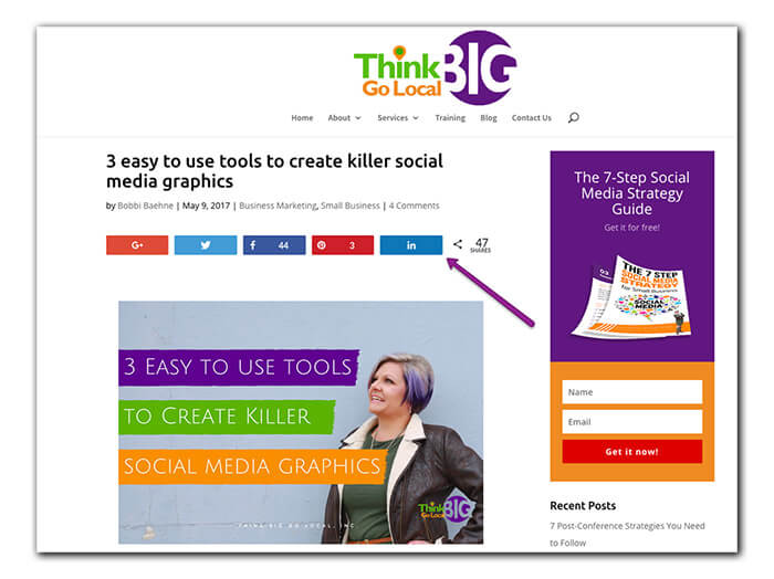 Use social sharing icons on your blog
